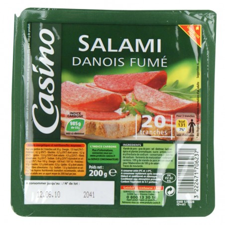 Salami Danois Fumé 20 tranches 200g CASINO