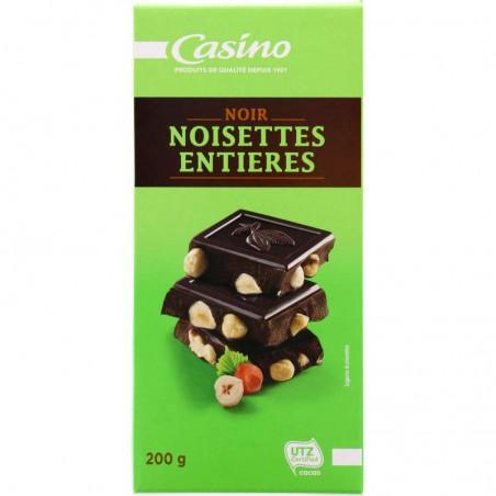 Chocolat Noir Noisettes entières 200g CASINO