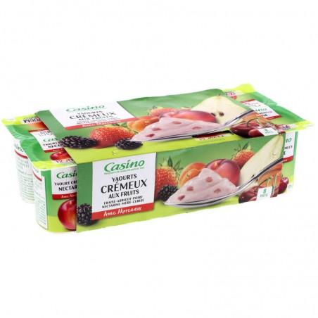 Yaourts crémeux aux fruits avec morceaux (fraise - abricot - poire - nectarine - mûre - cerise) 8x125g CASINO