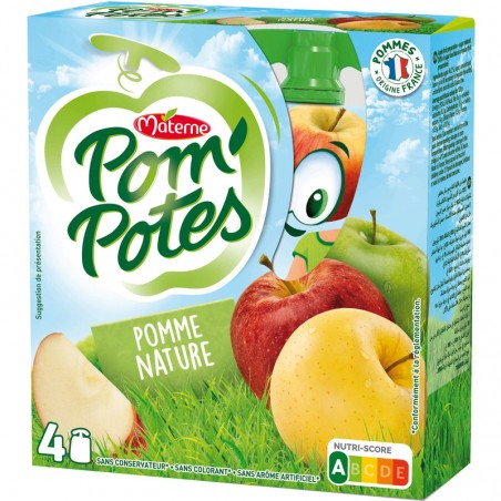 Pom'Potes  - Compote pomme nature 4x90g MATERNE